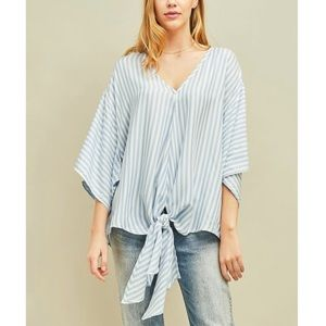 Entro Chambray Stripe Front-Tie Cape-Sleeve Top XL